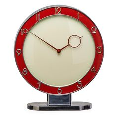 Art Decó Chrome Plated and Lacquered Table Clock (c.1935) by Heinrich Moller Kienzle, Germany