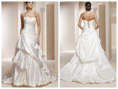 BEADED STRAPLESS SATIN WEDDING DRESS WITH PICK-UP SKIRT