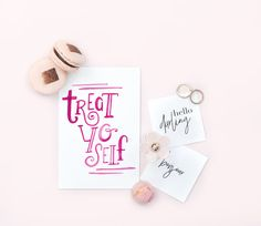 """My handpainted """"Treat yo self"""" - give it to someone who needs the reminder that it's ok for THEM to come first every once in a while!  Blank inside for your message. Comes with white envelope."""