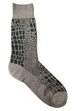 Vannucci Grey and Charcoal Abstract Crocodile Socks