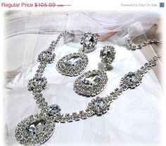 wedding jewelry, Bridal jewelry set, Bridal necklace earrings, Rhinestone crystal Jewelry, ribbon necklace. $84.00, via Etsy.