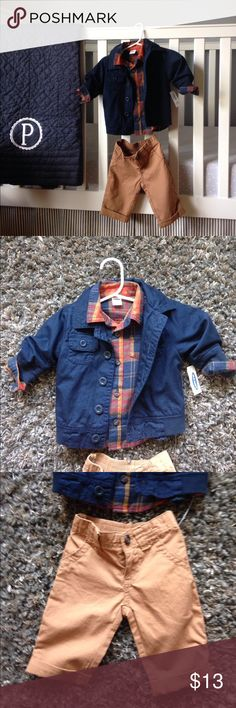 Boy's 3-6 month Old Navy set Darling fall outfit for your baby boy. Plaid buttoned shirt with khaki pants and blue overcoat. New with tags. Old Navy. Old Navy Matching Sets