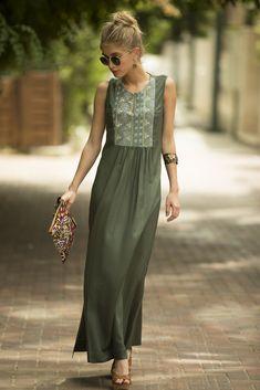 9d56e843b7d Sage Green Maxi Dress Long Kaftan Dress Tribal Ethnic Long