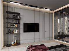 Marsala apartment on Behance Tv In Bedroom, Home Decor Bedroom, Baroque Bedroom, Marsala, Open Plan Kitchen Diner, Modern Bedroom Design, New Home Designs, Minimalist Interior, Apartment Interior