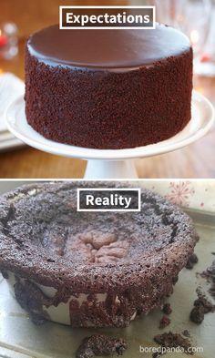 Expectations Vs Reality: 30 Of The Worst Cake Fails Ever Funny Birthday Cakes, Funny Cake, Happy Birthday Funny, Cake Meme, Funny Meme Pictures, Funny Images, Baking Fails, Bad Cakes, Drink Recipe Book