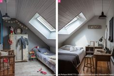 Children's rooms in the attic in a house in Brittany. Small Attic Room, Bedroom Decor For Small Rooms, Attic Bedroom Designs, Attic Bedrooms, Loft Room, Bedroom Loft, English Country Decor, Single Bedroom, Pretty Bedroom
