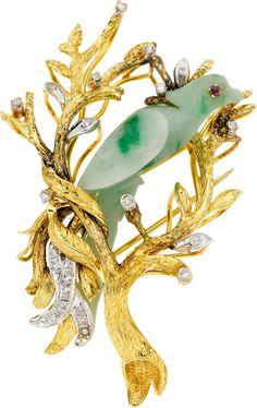 Jadeite Jade, Diamond, Ruby, Gold Brooch.