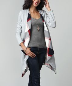Look what I found on #zulily! Gray French Terry & Plaid Lined Drape Cardigan #zulilyfinds