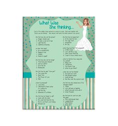 ****Bridal Shower Party Game****Printable Shower Game*****  What was she Thinking is a fun game where guest try to answer what the Bride-to-be was thinking. The questions are multiple choice and they are either songs or movies.   *****NOTE******* This listing is for a digital product. No physical items will be sent to you.  *****CHANGES***** The colors used in this listing can easily be changed. Just send me a note in the notes to seller section at checkout and let me know your changes…