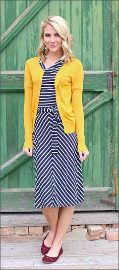 Molly Dress, Navy/White Stripe Dress.