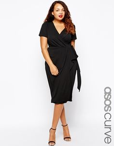"""""""Every PLUS SIZE woman knows (or should know) that a black dress and a wrap style dress are two basic necessities in her wardrobe."""" **This dress is a two in ONE!**  [[ASOS CURVE Wrap Dress With Bow Front In Longer Length]] #BlackDress #DaytoNightDress"""