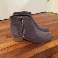 Grey/blue suede ankle boots Grey/blue suede ankle boots with approximately one in heel with side Zipper closure. Never worn in excellent condition perfect for the spring or fall. Paired with jeans leggings or a cute dress! Excellent condition, pictures to show! INC International Concepts Shoes Ankle Boots & Booties