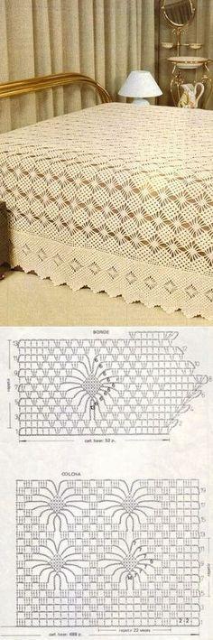 Crochet afghan patterns chunky knit blankets Ideas for 2019 Crochet Bedspread Pattern, Afghan Crochet Patterns, Crochet Squares, Crochet Motif, Crochet Doilies, Crochet Stitches Chart, Thread Crochet, Gilet Crochet, Crochet Tablecloth