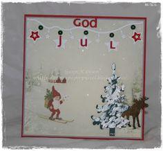 Gunns Papirpyssel, pion design, julekort, christmas card, papir, paper, scrapbooking, scrapbook