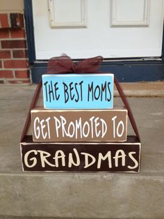 Mother's Day wood block set Grandma Nana gift home decor personalized best moms get promoted to grandmas