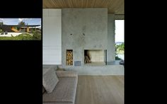 We could make wood storage spaces like this to the right of the fireplace.