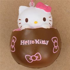 brown Hello Kitty chocolate pink filling squishy charm