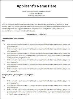 Resume Career termplate free Chronological Resume Template Free - http://www.resumecareer.info/chronological-resume-template-free-5/