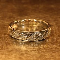 Vintage Inspired Diamond Wedding Band 14k White Gold Womens Wedding Ring Anniversary Ring (Other Metals & Stones, Ring Engraving Available)
