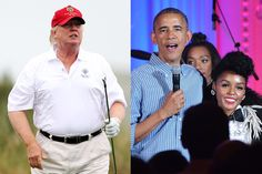 Trump plays a round of golf in Scotland; Obama with Janelle Monáe during an Independence Day Celebration at the White House, 2016. Left, by Ian MacNicol; Right, by Mandel Ngan/AFP, both from Getty Images.