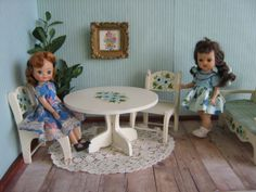 Vintage 50s Wooden Table and Chairs w/ Hand Painted by TheToyBox, $50.00