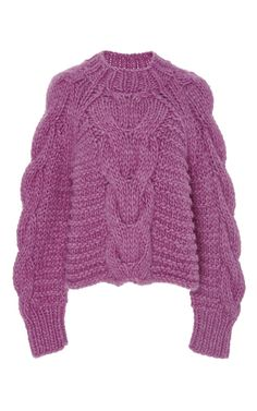 Hibiscus Francisca Cable Handknits Pullover by ULLA JOHNSON for Preorder on Moda Operandi