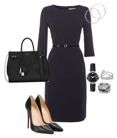 A fashion look from April 2017 featuring long sleeve evening dresses, black heeled shoes and Yves Saint Laurent. Browse and shop related looks. Office Fashion, Work Fashion, Business Fashion, Business Wear, Classy Outfits, Chic Outfits, Fashion Moda, Womens Fashion, Work Attire