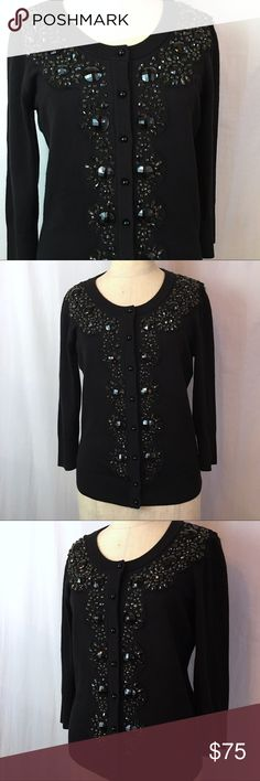 Kate Spade Jeweled front Black Cardigan sz S Kate Spade Jeweled front Black Cardigan sz S. The perfect Cardigan for Holiday dressing or wear with Denim. Measurements in inches: Bust: 32 Waist: 28 Length: 22 Sleeve:18 kate spade Sweaters Cardigans