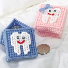 Perfect size for a tooth or two. Tooth Fairy Treasure Box Plastic Canvas. Visit us at www.smilesforlifeortho.com