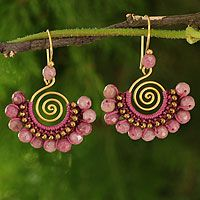 Rhodonite chandelier earrings, 'Rose Kiss' by NOVICA