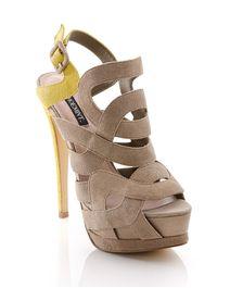 Taupe/citron platform sandals