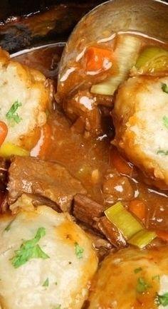 Beef Stew & Parsley Dumplings - Slow Cooker