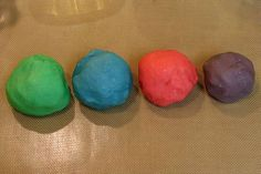 Home made playdough...just as awesome as the stuff you can buy, but super easy to make at home! And for a cool trick, add some unsweetened kool-aid powder to make great smelling play dough