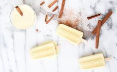 Use this recipe to make eggnog popsicles.