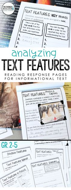  Help students analyze text features within informational texts with these handy reading response pages, designed in an engaging notebook format. Differentiated at three levels. Also includes pages on text structures, locating important facts, summarizing & synthesizing, vocabulary, research, and more! (Gr 2-5) $