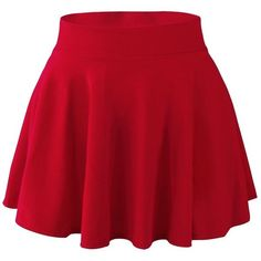 FUNOC Womens Ladies High Waist Plain Pleated Flared Mini Skater (Red) ($5.28) ❤ liked on Polyvore featuring skirts, mini skirts, saia, bottoms, red skirt, flared mini skirt, red flare skirt, skater skirt and high-waisted skirts