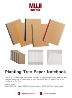 One of MUJI's long time best sellers for over 29years! This simple & comfortable to use notebook with recycled paper.