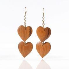 Linear Wood Heart Earrings: organic wood hearts for your ears :)
