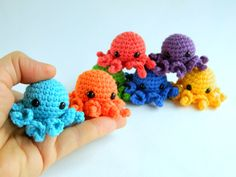 Crochet octopus set 7 rainbow baby toys. Crochet jellyfish amigurumi. Crocheted tiny octopus for montessori materials. Crocheted Jellyfish, Crochet Octopus, Tiny Octopus, Organic Baby Toys, Montessori Materials, Rainbow Baby, Educational Toys, Crochet Toys, Happy Shopping