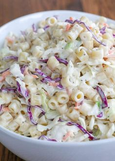 Creamy, tangy, crunchy and irresistible, you're going to love this coleslaw pasta salad! Creamy Pasta Salads, Easy Pasta Salad, Pasta Salad Recipes, Coleslaw Recipes, Coleslaw Salad, Coleslaw Dressing, Barefeet In The Kitchen, Small Pasta, Light Recipes