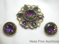 Authentic 1940s Elsa Schiaparelli Large Watermelon Filigree Brooch Earrings Set #Schiaparelli
