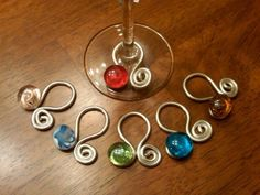 Wine Glass Charms American Made by on Etsy Wine Glass Markers, Wine Glass Crafts, Wine Craft, Bottle Crafts, Wine Bottle Charms, Wine Bottles, Painted Wine Glasses, Beads And Wire, Jewelry Making