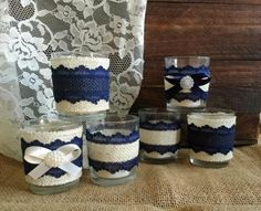 navy blue and ivory rustic burlap and lace covered 6 votive tea candles, wedding, bridal shower, birthday, home decor