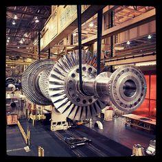 An F-class gas turbine being assembled in Greenville, SC.