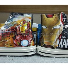 Converse All Star Iron Man Hand Painted Canvas Shoes Drawn Fashion Sneakers High Top Chuck Taylor for Men Women