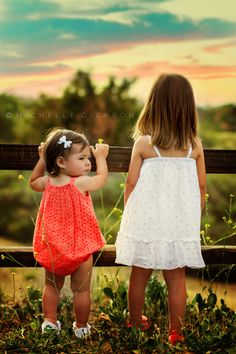 www.facebook.com/michelledicksonphotography  Michelle Dickson Photography, Sisters, Photography, Outdoors, Sunset, Romper, whitedress, fences, kids, toddler photography, family pictures, family styling,  wildflowers.
