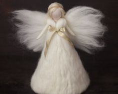 Items similar to Needle Felted-Large Tree topper Angel –White-Silk – Gold-Felted christmas ornament-Guardian angel-Soft angel-Magic wool on Etsy Angel Christmas Tree Topper, Felt Christmas Decorations, Felt Christmas Ornaments, Christmas Angels, Handmade Christmas, Christmas Crafts, Felt Angel, Boutique Deco, Felt Tree