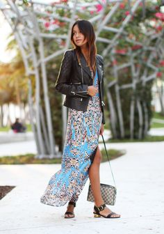 Boho maxi & quilted leather jacket. My go-to for early fall.