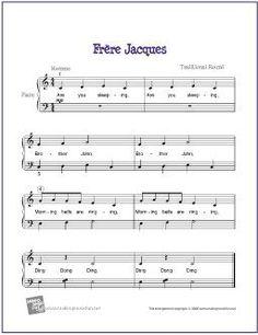 Frere Jacques | Free Sheet Music for Easy Piano - http://makingmusicfun.net/htm/f_printit_free_printable_sheet_music/frere-jacque-piano-solo.htm