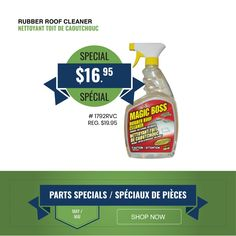 May Parts Specials are now available! Save on Boss Rubber Roof Cleaner and more. Delivery and curbside pickup available. Roof Coating, Spray Bottle, Cleaning Supplies, Rv, Boss, Delivery, Motorhome, Caravan Van, Airstone